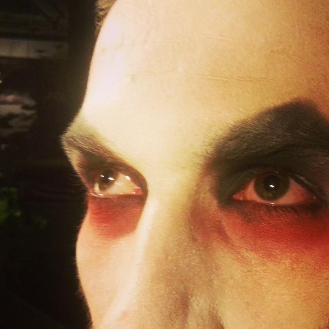 V's eyes.
